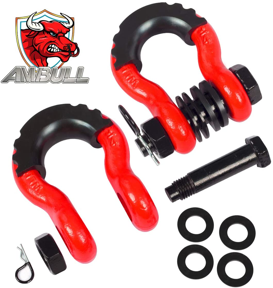 AMBULL Shackles 3/4 Inch D Ring Shackle (2 Pack) 41,850lb Break Strength with 7/8 Inch Pin, Isolator and Washer Kits for Use with Tow Strap, Winch, Off-Road Jeep Truck Vehicle Recovery (Red)