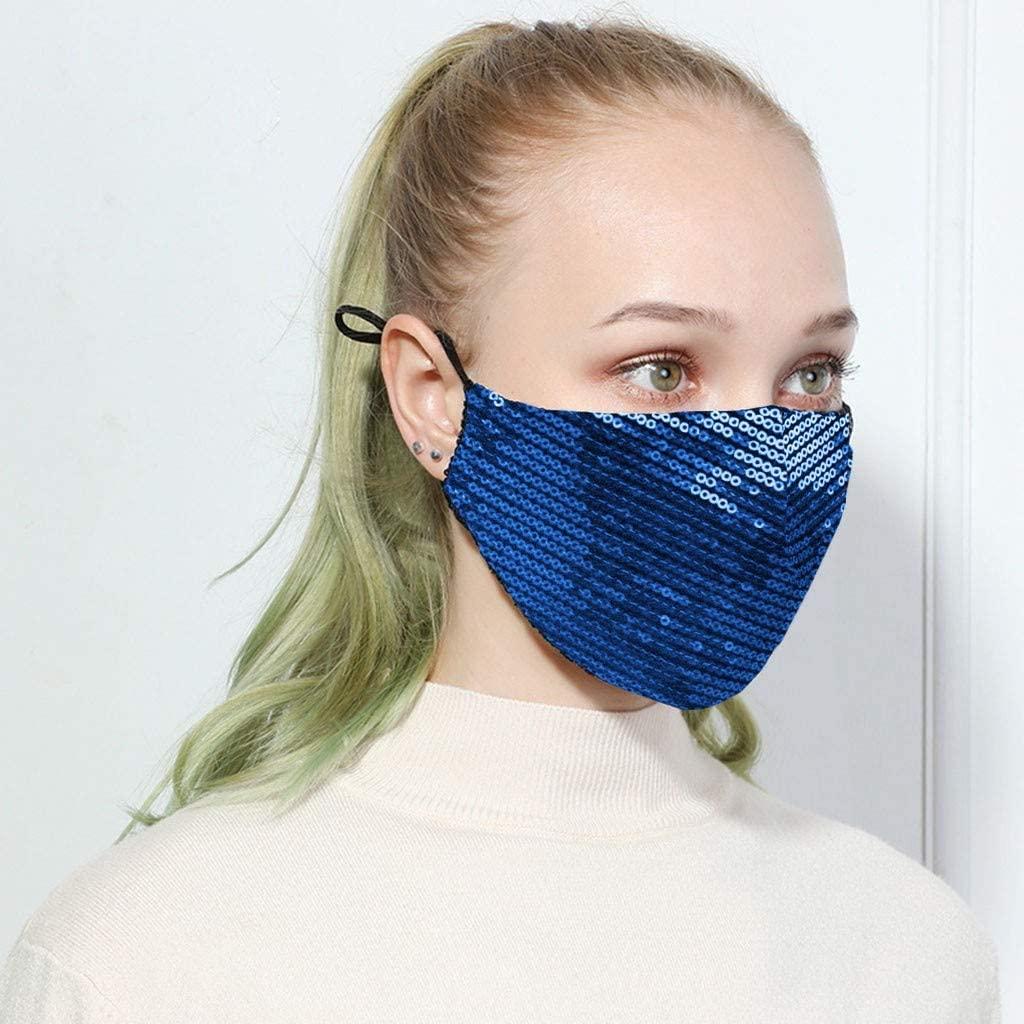 Osibinmo Decorative Glitzy Sequin,Rhinestone, Reusable and Breathable,cute Face Bandanas,Anti-Haze Dust,cotton Face_Mask Sparkly,Anti-Haze Dust,Washable,protection for Adults