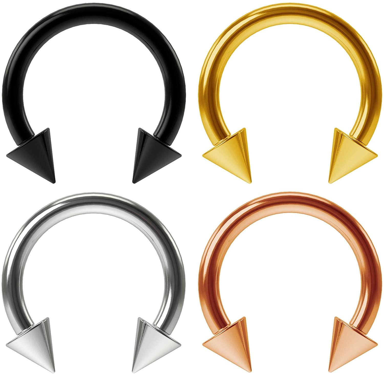 4pc 16g Horseshoe Earrings Circular Barbells Rings Hoop Tragus Helix Eyebrow Septum Piercing Jewelry