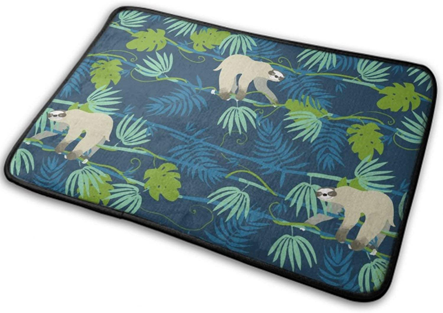 Soft Shaggy Bath Rugs Area Rug Mats Super Water Absorbent Non-Slip Doormat Carpet Mats for Tub, Shower, Bathroom 23.6 x 15.8 Inch, Sloth on The Tree Tropical Palm Leaves