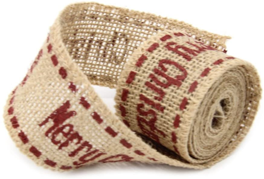 BESTOYARD Wired Christmas Burlap Ribbon for DIY Crafts Holiday Christmas Decoration 4cm 2m