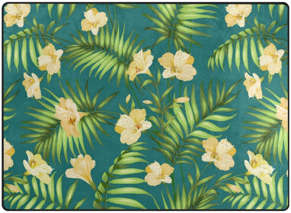 ABLINK Non-Slip Area Rugs Home Decor, Stylish Seamless Tropical Hawaiian Blossom Flowers Durable Floor Mat Living Room Bedroom Carpets Doormats 80 x 58 inches