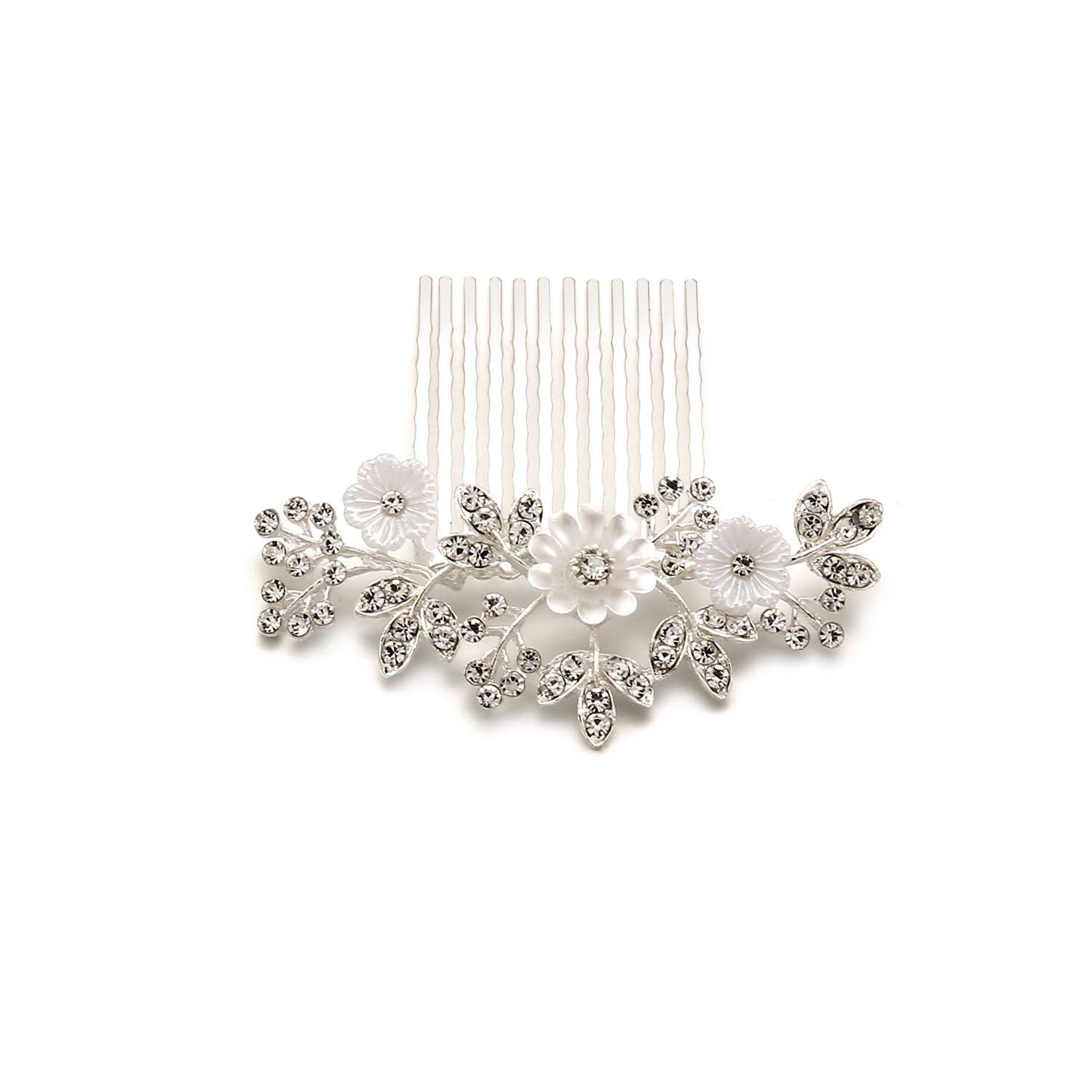 ARUMI Wedding Hair Comb Silver Rhinestones Crystal Pearls Daisy Flower Shell Vintage Bridal Hair Clips Accessories for Brides and Bridesmaids (Silver)