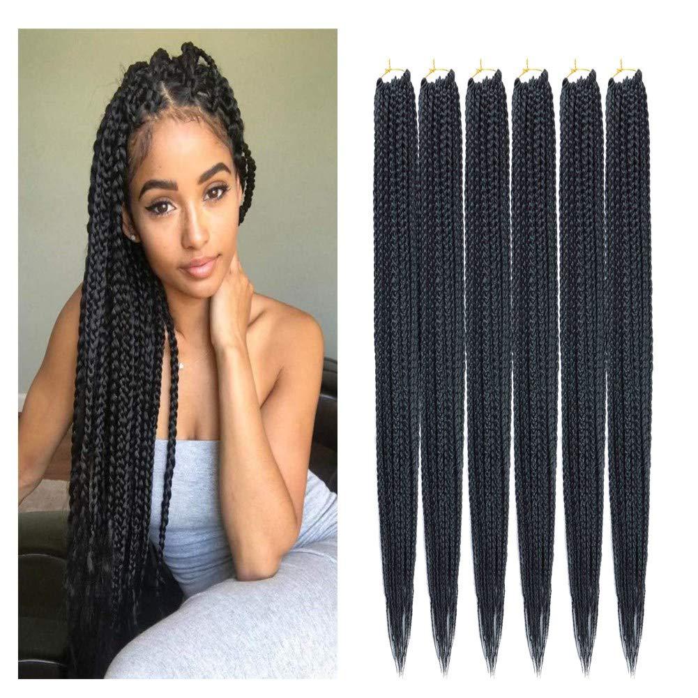 "14/18/24/30"" Crochet 3X Box Hair Braids Crochet braid Hair Synthetic Braiding Hair Extensions 6pcs/pack (24"