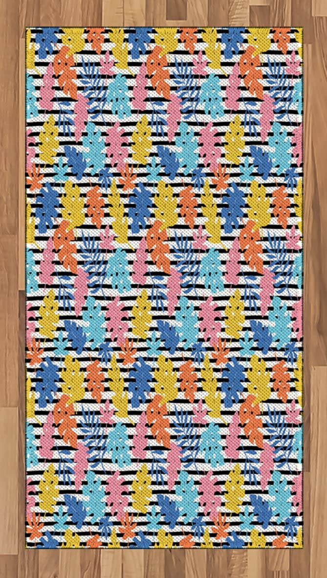 Ambesonne Colorful Area Rug, Pastel Colored Tropical Leaves Hawaiian Jungle Foliage on Black and White Stripes, Flat Woven Accent Rug for Living Room Bedroom Dining Room, 2.6' x 5', Multicolor
