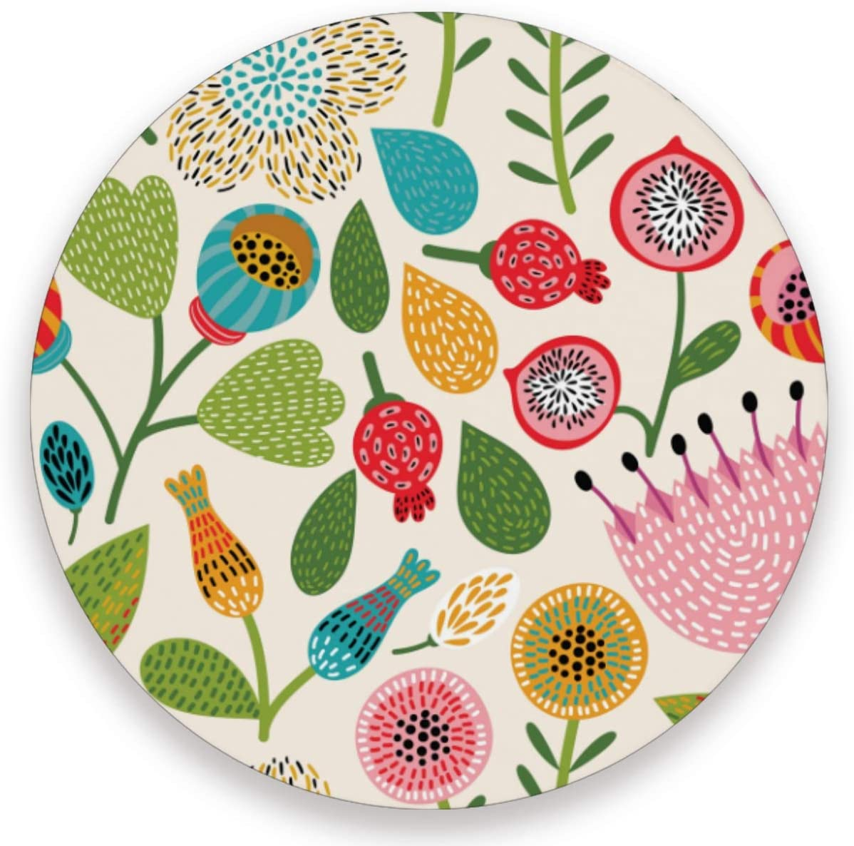 visesunny New Cute Floral Pattern Drink Coaster Moisture Absorbing Stone Coasters with Cork Base Non-Slip Cup Place Mats for Cold Drink Coffee and Wine, 1 Piece