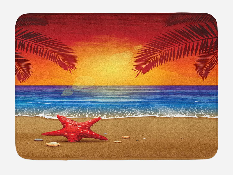 Ambesonne Tropical Bath Mat, Sunset Cartoon Illustration Beach Summer Starfish Palm Tree Ocean Fantasy Art, Plush Bathroom Decor Mat with Non Slip Backing, 29.5