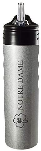 LXG, Inc. University of Notre Dame-24oz. Stainless Steel Grip Water Bottle with Straw-Silver
