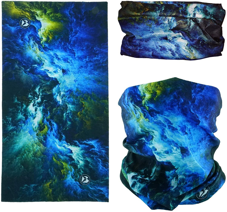SMEHCF Novelty Seamless Bandana Balaclava Face Cover Mask Shield Neck Gaiter Reusable Breathable Dustproof Windproof Unisex Nebula Galaxy Star Milkway Universe Outer Space Supernova Blue