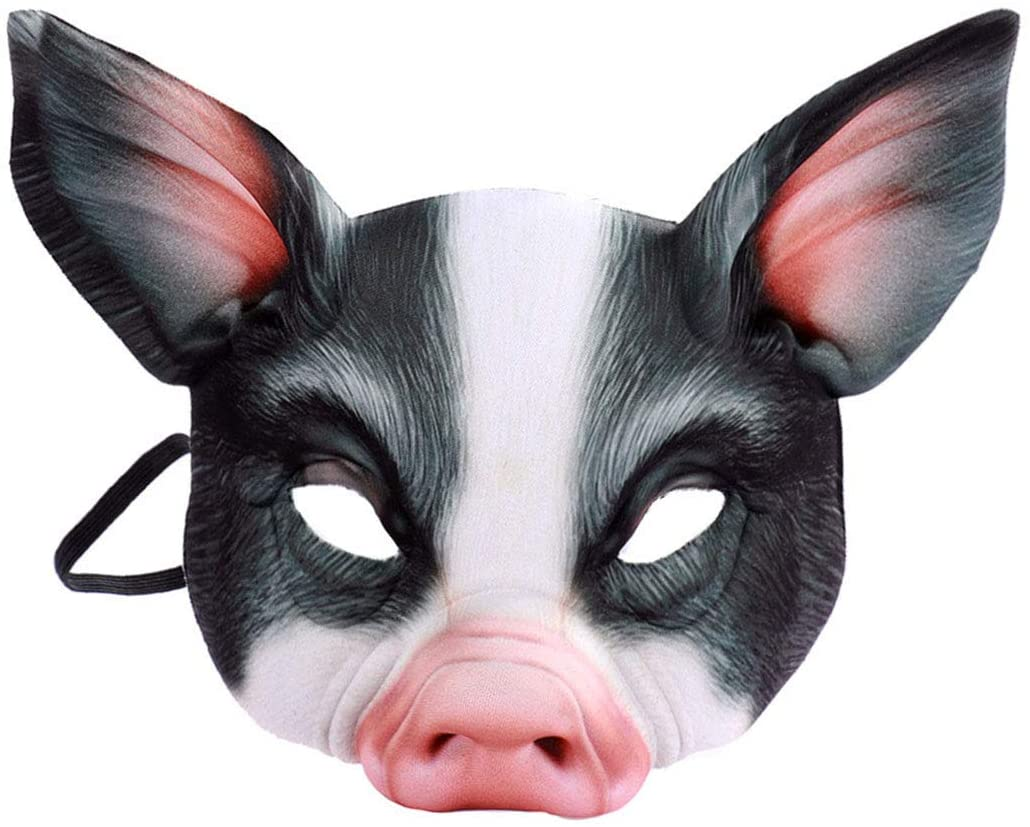 Half Face Animal Mask Pig Mask for Party Festival Halloween Masquerade Fancy Ball Cosplay (Black)