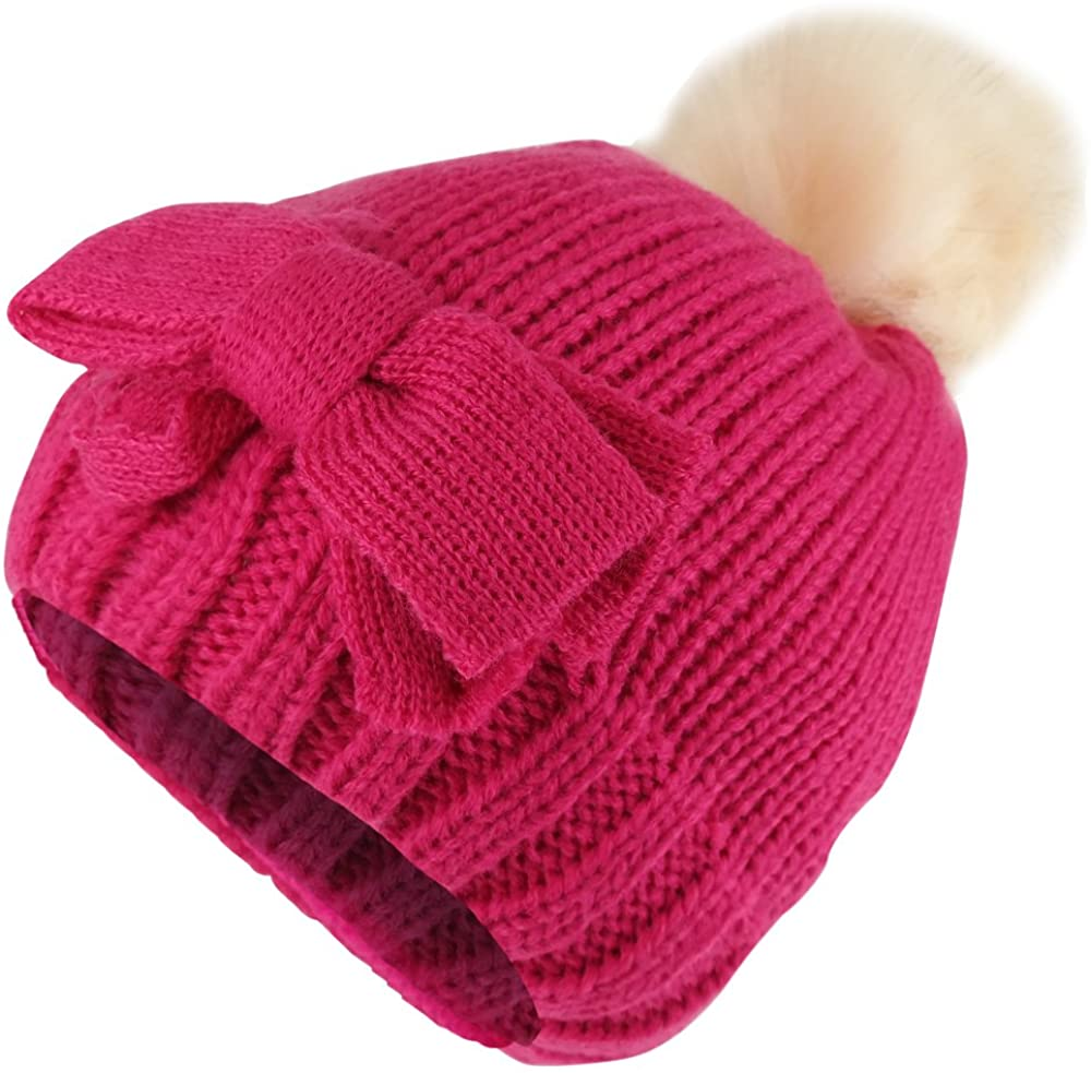 Trendy Apparel Shop Kids Girl Bow Knit Beanie with Fur Pom Pom