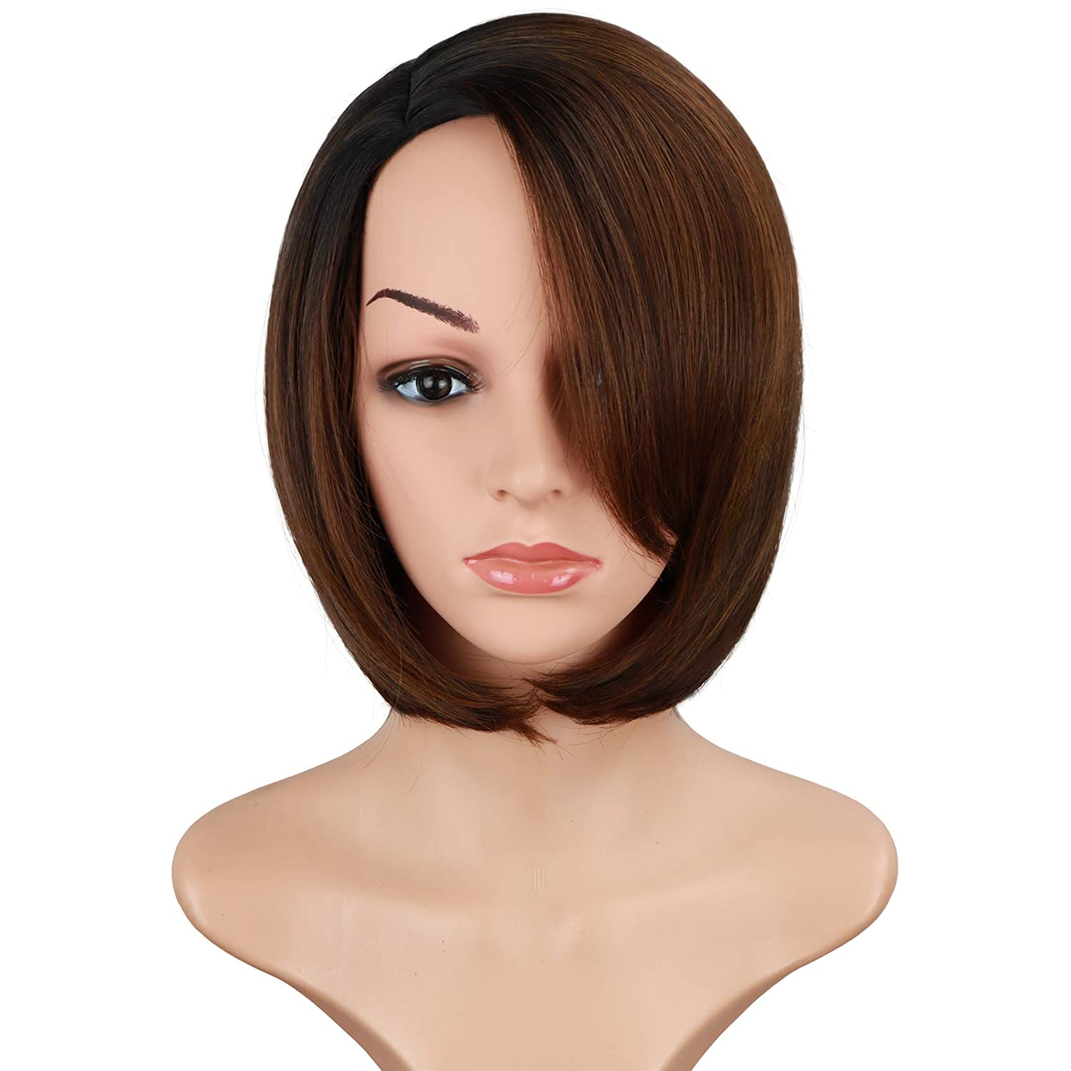 Ombre Brown Bob Wigs With Bangs For Black Women Side Part Bob Wigs With Side Bangs Synthetic Brown Bob Wigs Short Straight Bob Wigs 12 Inch (Ombre Brown)