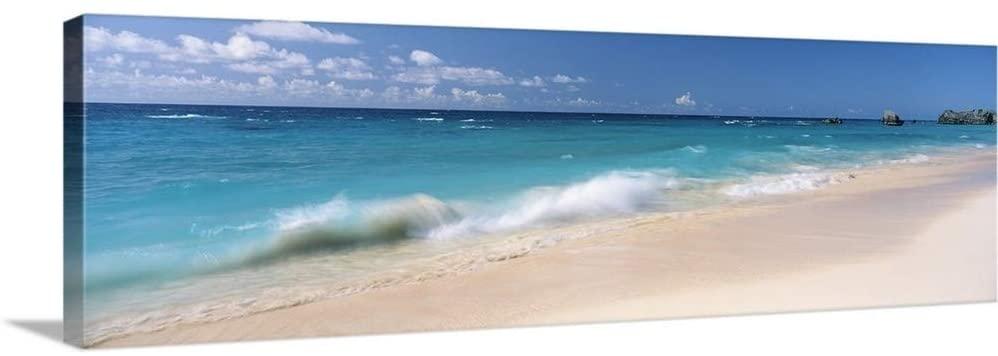 Waves in The Ocean, Warwick Long Bay, Atlantic Ocean, Bermuda Canvas Wall Art Print, 60x20x1.25