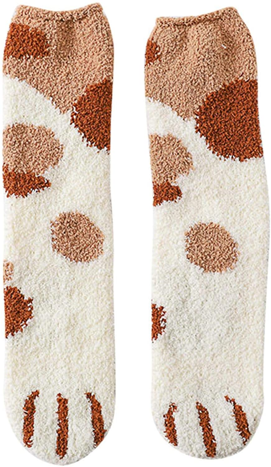 FatCat Wall Graphics Cute Womens Fuzzy Socks, Lovely Cat Claw Coral Thickening Middle Stockings