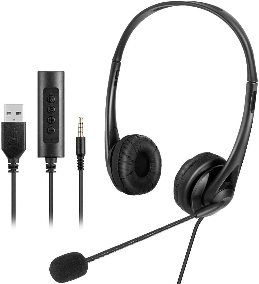 HelloCreate Wired Headset with Mic, 3.5mm/USB Plug Over-Ear Headphone with Mic Volume Control for PC Mobile Phone