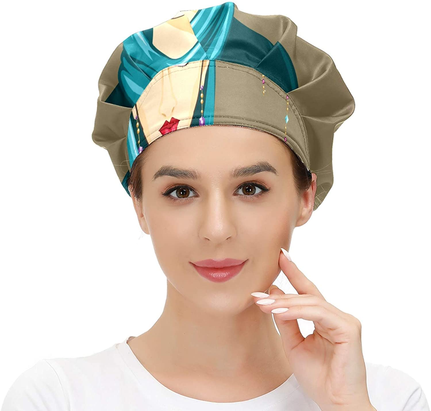 Women Cap Working Hat with Sweatband African Women of Blue Elastic Adjustable Working Caps for Woman Men One Size Working Head Scarf Multi Color