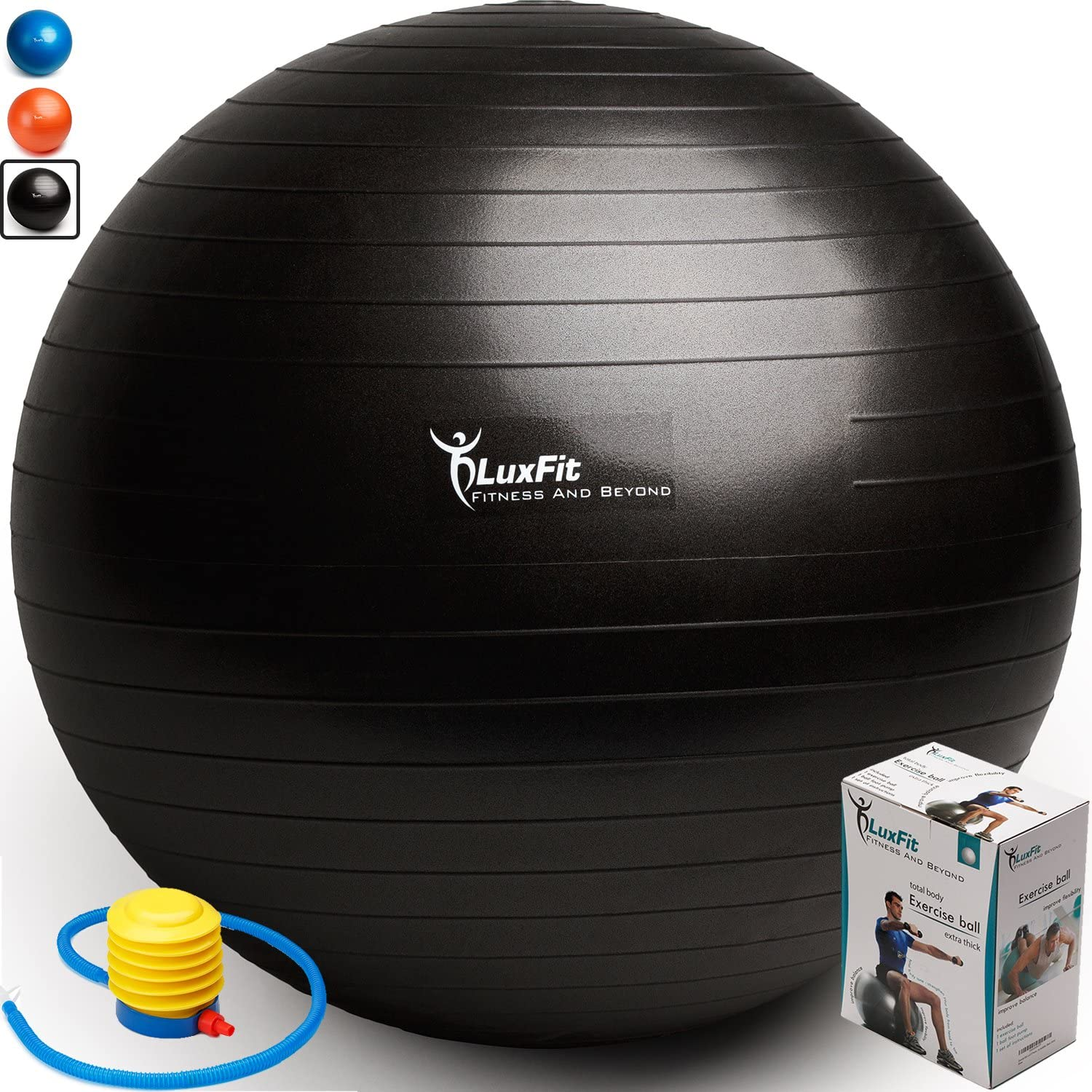 LuxFit Exercise Ball, Premium Extra Thick Yoga Ball 2 Year Warranty - Swiss Ball Includes Foot Pump. Anti-Burst - Slip Resistant! 45cm, 55cm, 65cm, 75cm, 85cm Size Fitness Balls