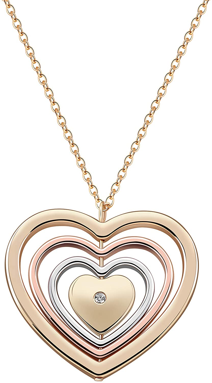 HUAYUAN Heart Long Necklace Mixed Plated Rotatable Love Heart Pendant Necklace for Women Girls