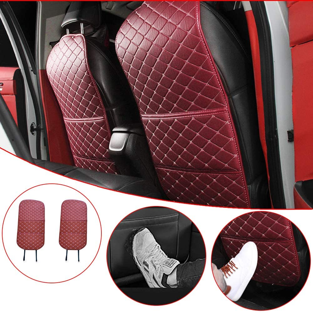 Handao-US Kick Mats-Premium Quality Waterproof Car Seat Back Protector Mat with Organizer Storage Pocket Fit for Car, SUV, Minivan or Truck Wine Red Luxury 2 Pack