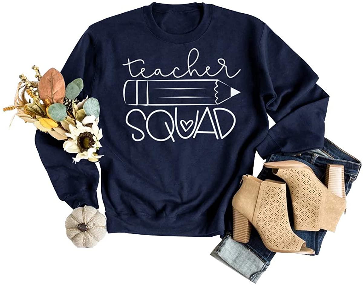 TAKEYAL Teacher Squad Sweatshirts Women Cute Pencil Graphic School Student Casual Long Sleeve Shirts