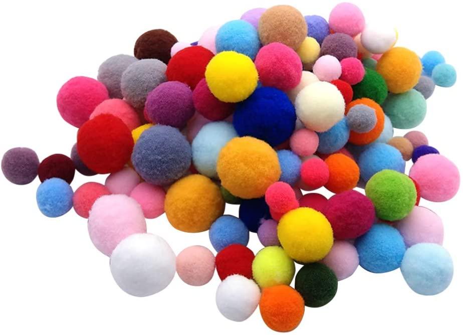 SUPVOX 160Pcs Crafts Pompoms Fuzzy Pom Poms Balls Kindergarten Prop Fluffy Ball for DIY Creative Craft Decorations