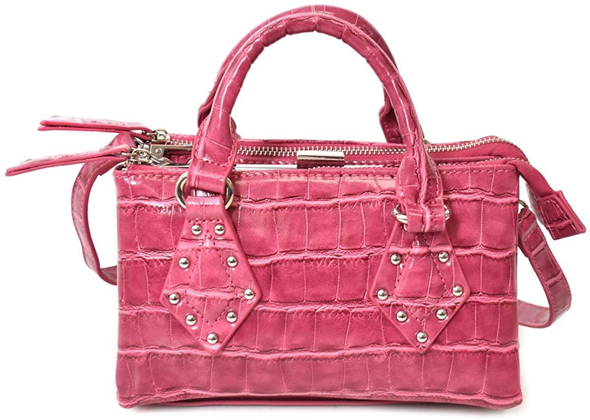 Charming Charlie Women's Mini Croco Satchel Bag w/Studs - Adjustable Crossbody Strap, 3 Compartments - Plum