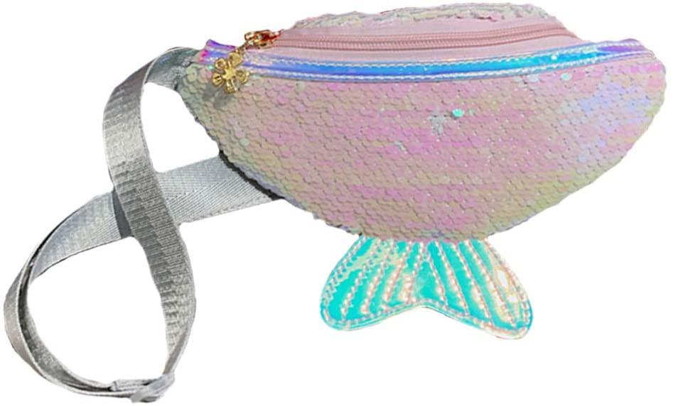 FENICAL Fanny Pack Sequin Mermaid Tail Waist Bag Flippy Chest Bag Glitter Crossbody Purse for Baby Kids - White