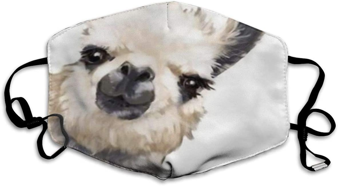 Comfortable Adjustable Watercolor Llama Painting White Facial Decorations For Women And Men