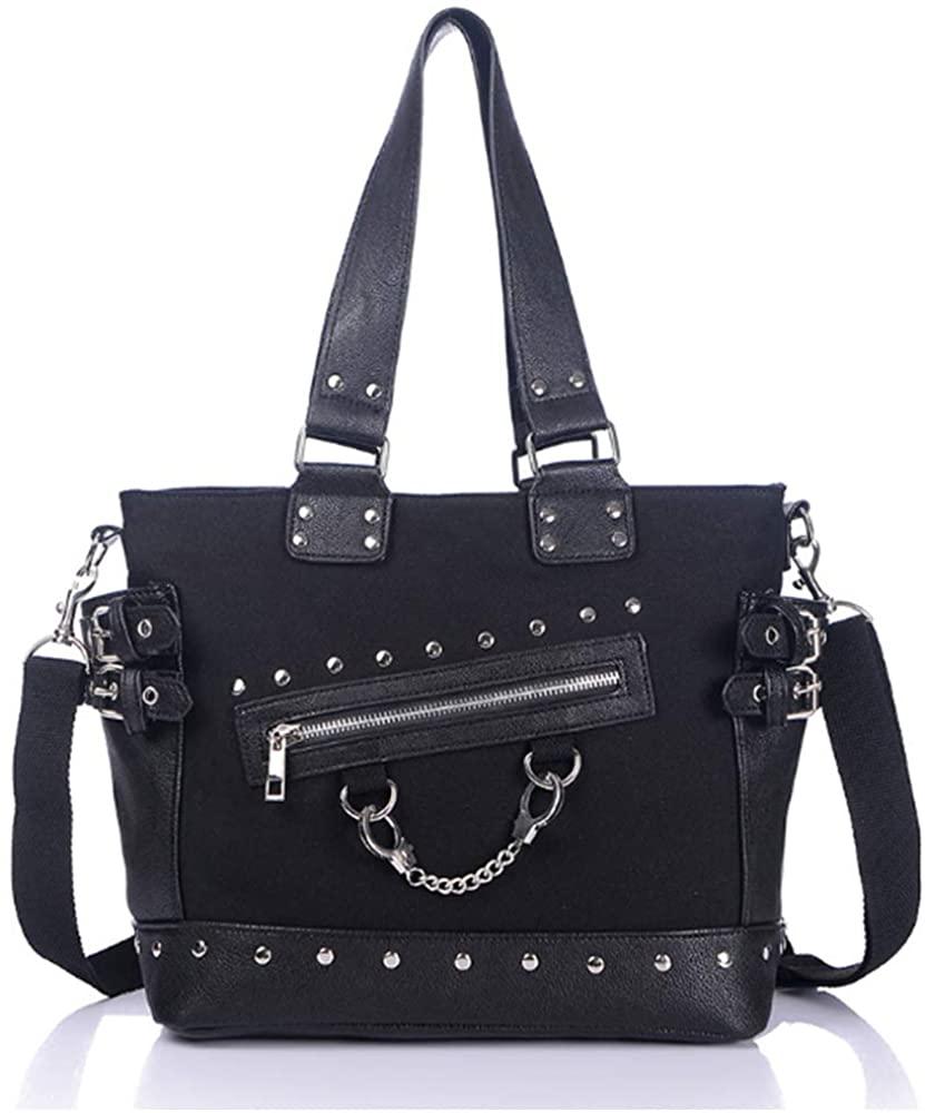 Women Punk Handbag and Purses Chain Rivets Top Handle Hobo Bag Satchels Wallets