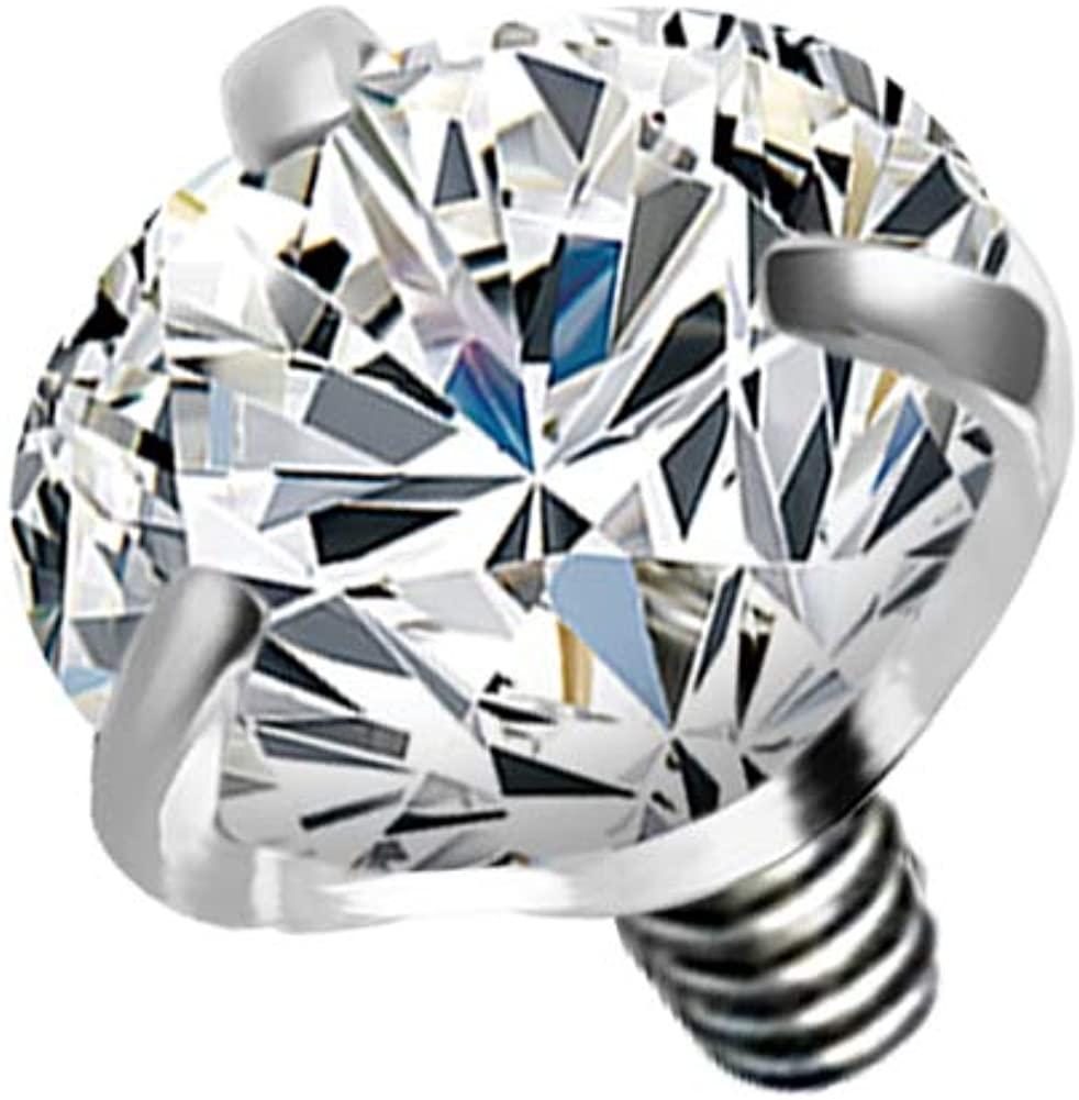 COCHARM 3mm Dermal Piercing Jewelry 14G/16G G23 Solid Titanium Dermal Tops Cubic Zirconia Dermals
