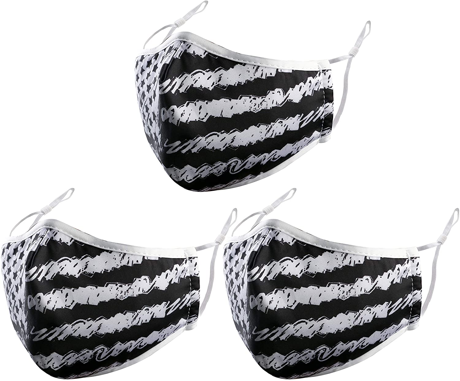 Face Covering, 3-Ply Unisex Reusable Mouth Covering adjustable in Sizes - Breathable Comfort Washable Dust Covering, Face Covering for Home Office Work Outdoors (Black US Flag)