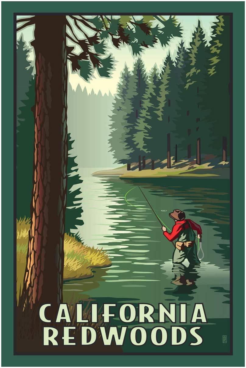 California Redwoods River Fly Fishing Giclee Art Print Poster from Original Travel Artwork by Artist Paul Leighton 24
