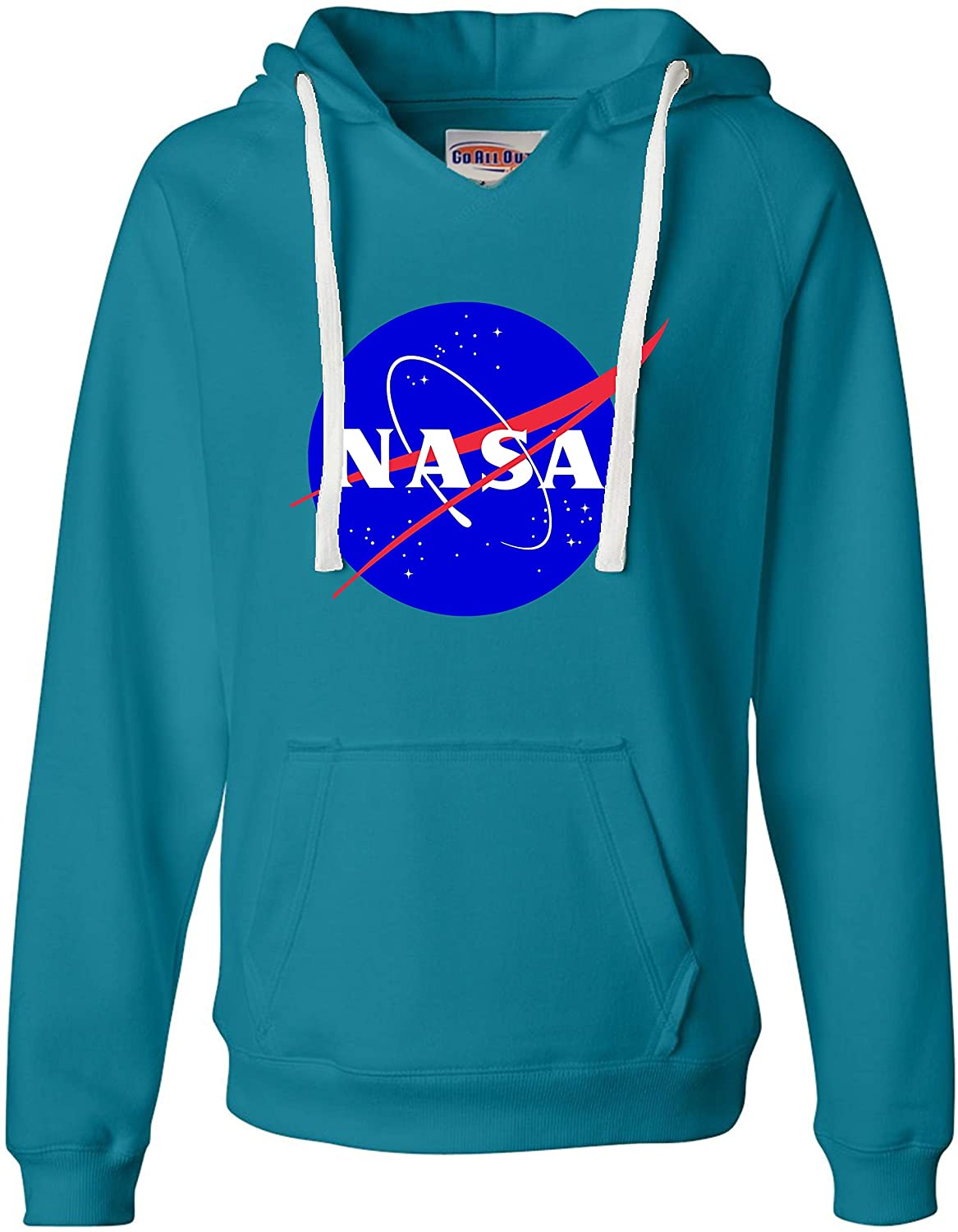 Go All Out Womens Blue NASA Logo Deluxe Soft Hoodie