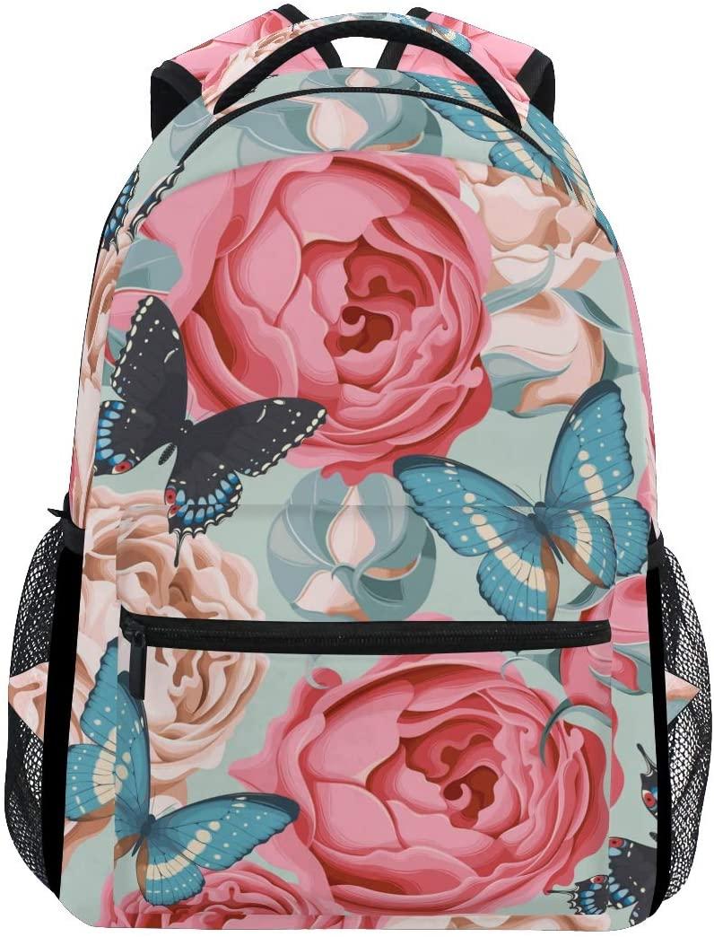 Backpack Travel Butterfly Flower School Bookbags Shoulder Laptop Daypack College Bag for Womens Mens Boys Girls