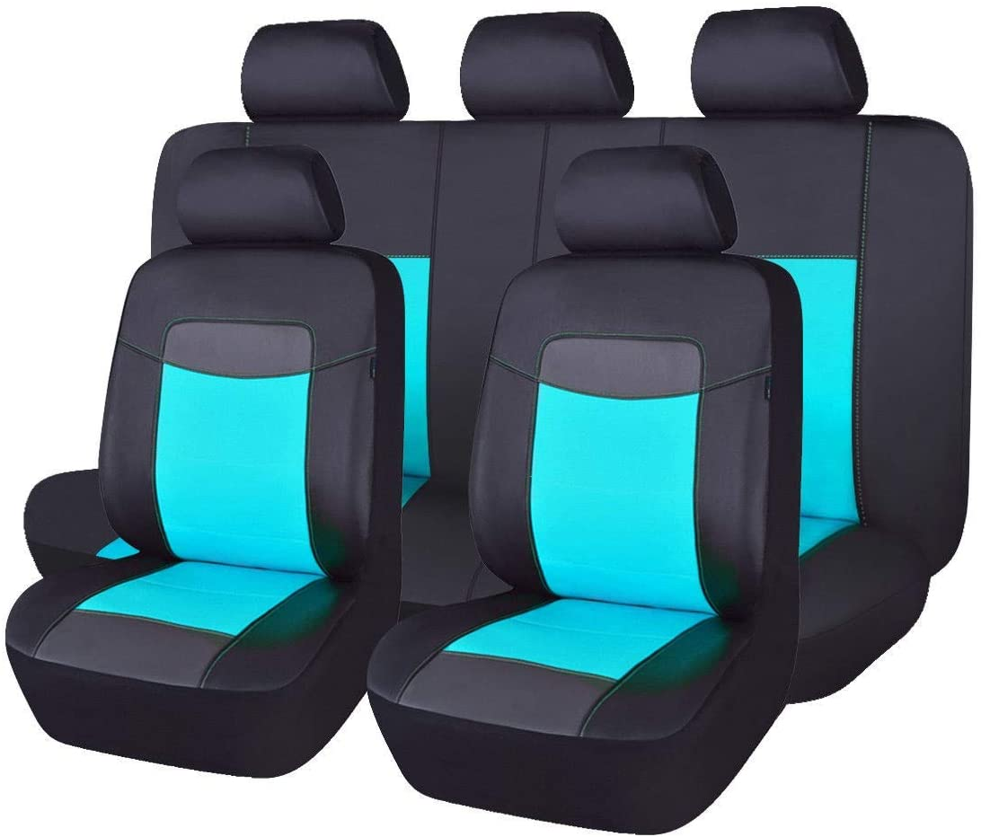 Flying Banner Car Seat Covers 11 PCS Front Seats and Rear Leather Cover Waterproof Bench Black with Water Blue