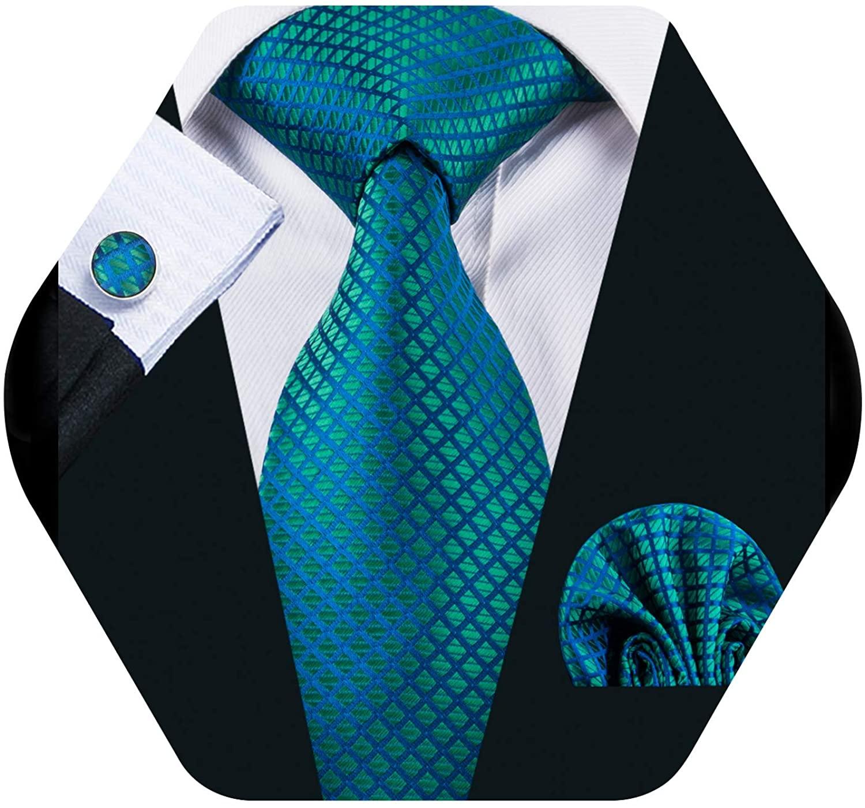 YOHOWA Check Men Ties Set Pocket Square Cufflinks Silk Plaid Business Neckties Wedding Fashion