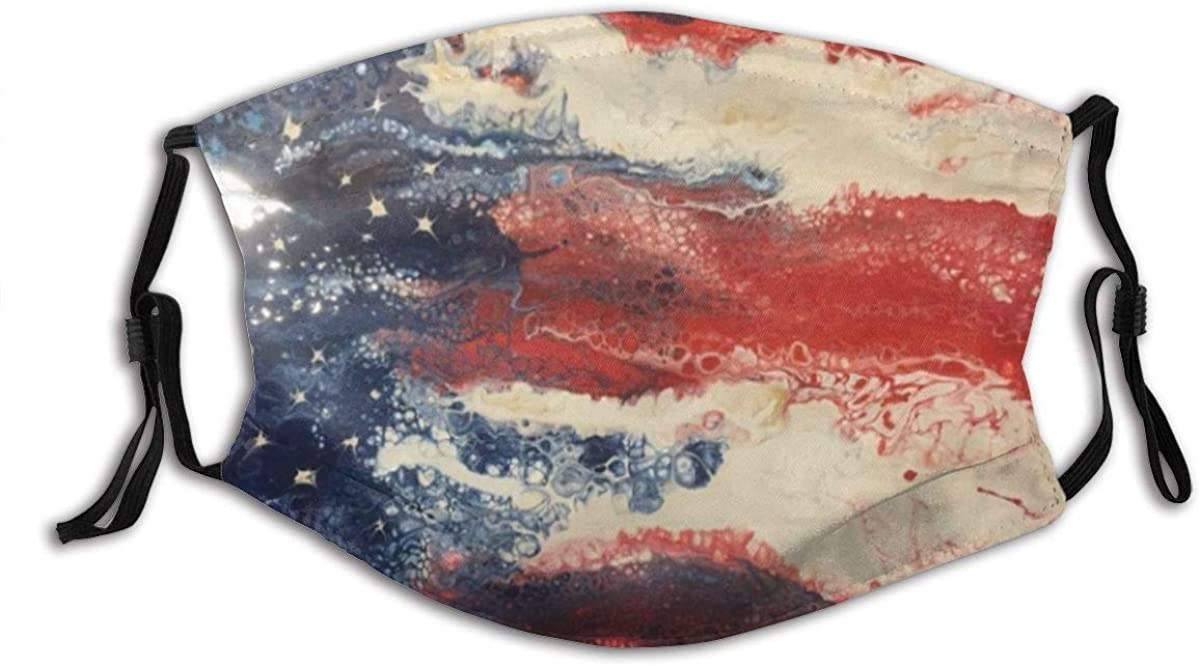 America Flag Fashion Face Mask Fabric Protection Bandanas Balaclava Pocket Washable Reusable with 2 Pcs Filters