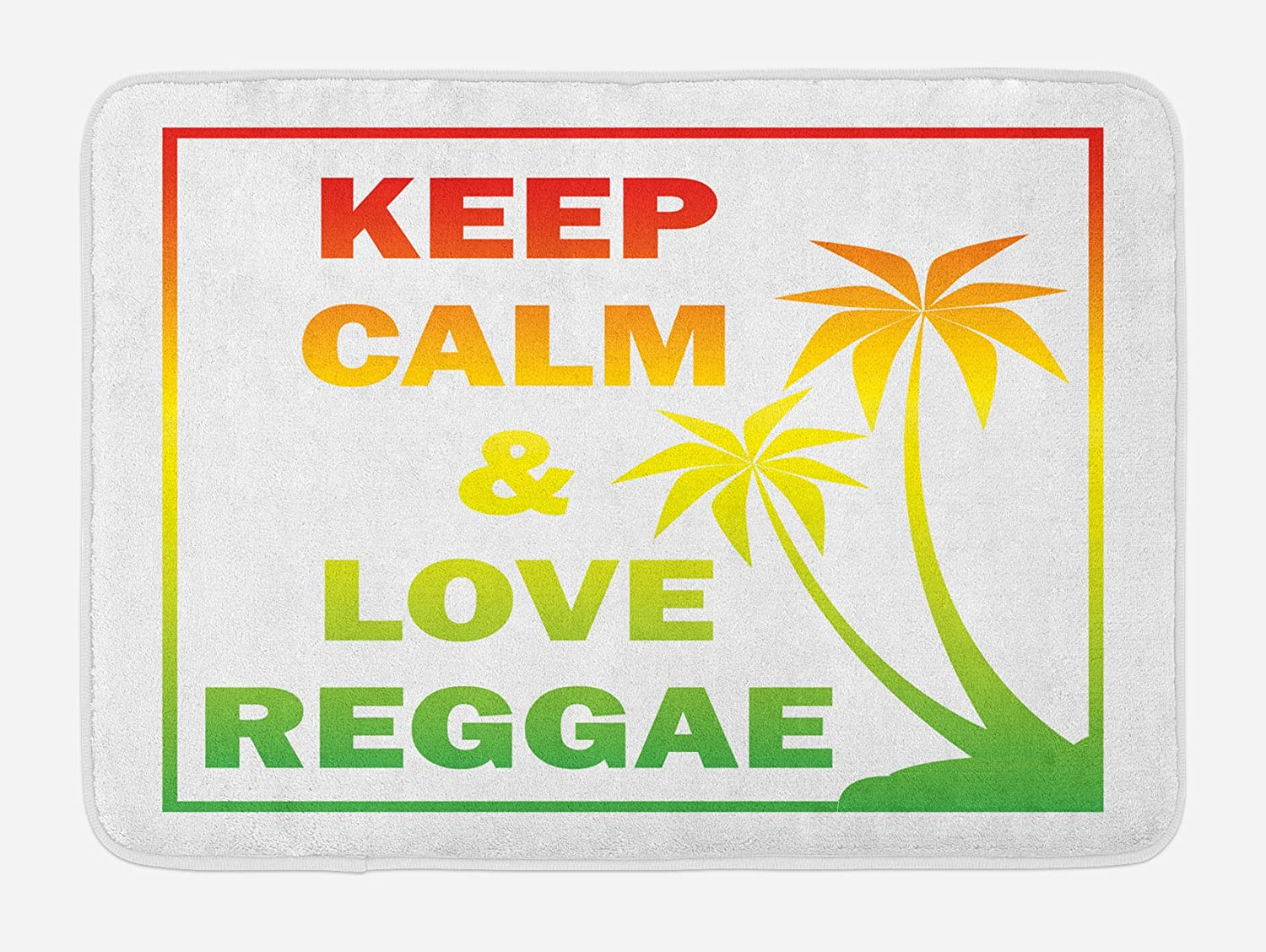 Ambesonne Rasta Bath Mat, Keep Calm and Love Reggae Words in Ombre Rainbow Colors Music Themed, Plush Bathroom Decor Mat with Non Slip Backing, 29.5 X 17.5, Green Yellow