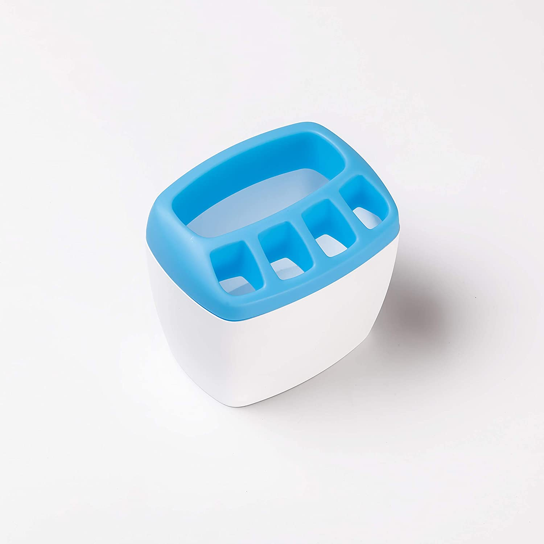 Blue Toothbrush Organizer Plastic 4 Toothbrush Slots, 1 Toothpaste Slot Toothpaste Holder Bathroom Washroom Bathroom accessories Teeth cleaning tools Toothbrush Holder for Ladies Baby Family