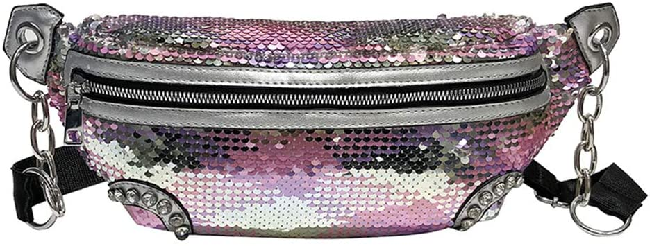 FENICAL Sling Bag Sequin Waist Bag Glitter Fanny Pack Anti-theft Chest Bag for Woman Girls (Pink)