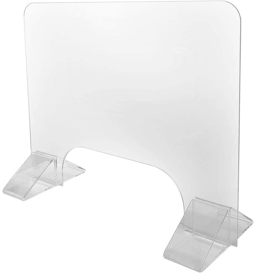 Sneeze Guard Plexiglass Shield, Protective Acrylic Desk Barrier, Strong Triangular Base (30''W x 24''H, 3/16