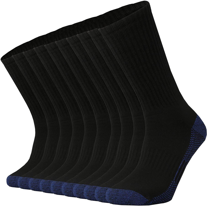 Ortis Cotton Moisture Wicking Breathable Work Heavy Cushion Crew Socks for Men 10 Pack