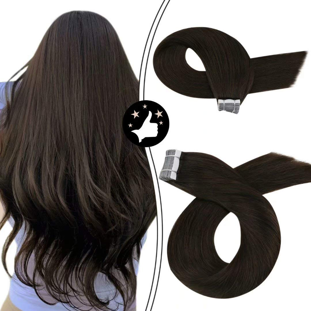 Moresoo Tape Hair Human Extensions 20 Inch Tape Extensions for Black Women Color Darkest Brown 50 Grams Tape Real Hair Extensions 20 Pieces Remy Human Hair