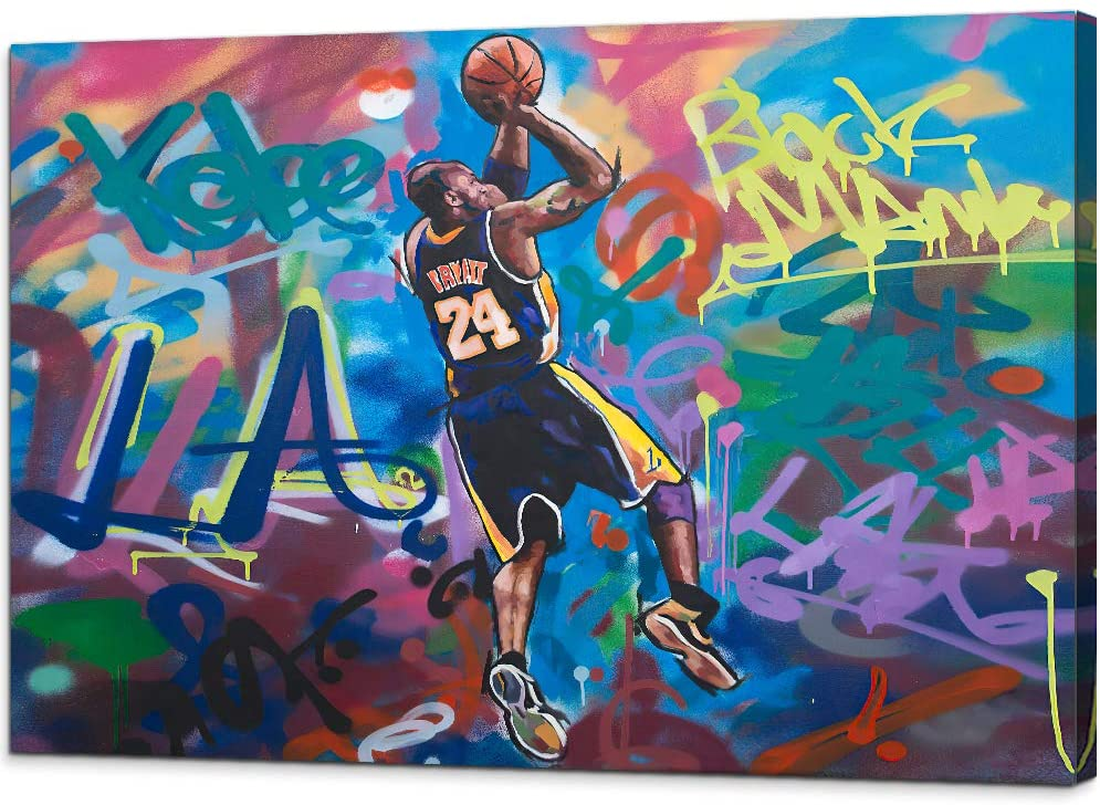 Kobe-Bryant Canvas Graffiti Wall Art Abstract Forever Mamba LA #24 Basketball Home Decor Picture Paintings Mourning Artwork for Living Room Bedroom Decoration Framed Poster Ready to Hang (16'' x 24'')