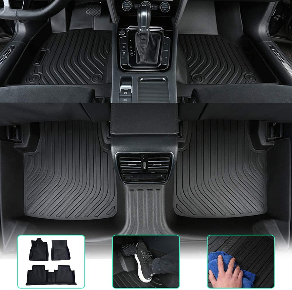ytbmhhuoupx for Audi Q5 2018-2020 TPE Floor Mats Custom All Full Surrounded Cargo Liner All Weather Waterpoof Anti-Slip Left Driving Black