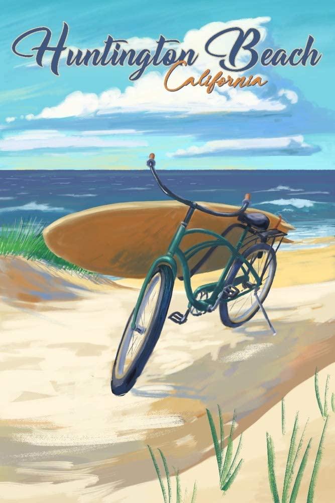 Huntington Beach, California - Beach Cruiser on Beach (9x12 Art Print, Wall Decor Travel Poster)