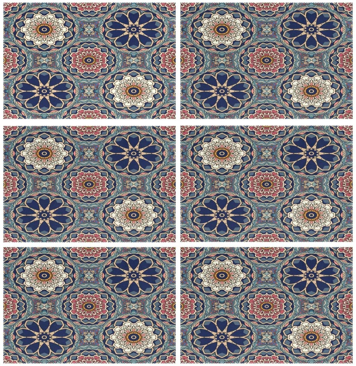 ALAZA Indian Bright Stylized Lotus and Flowers Mandalas Placemats Set of 6 for Kitchen Dinning Table Place Mat Heat Resistant Washable Polyester Plate Mat