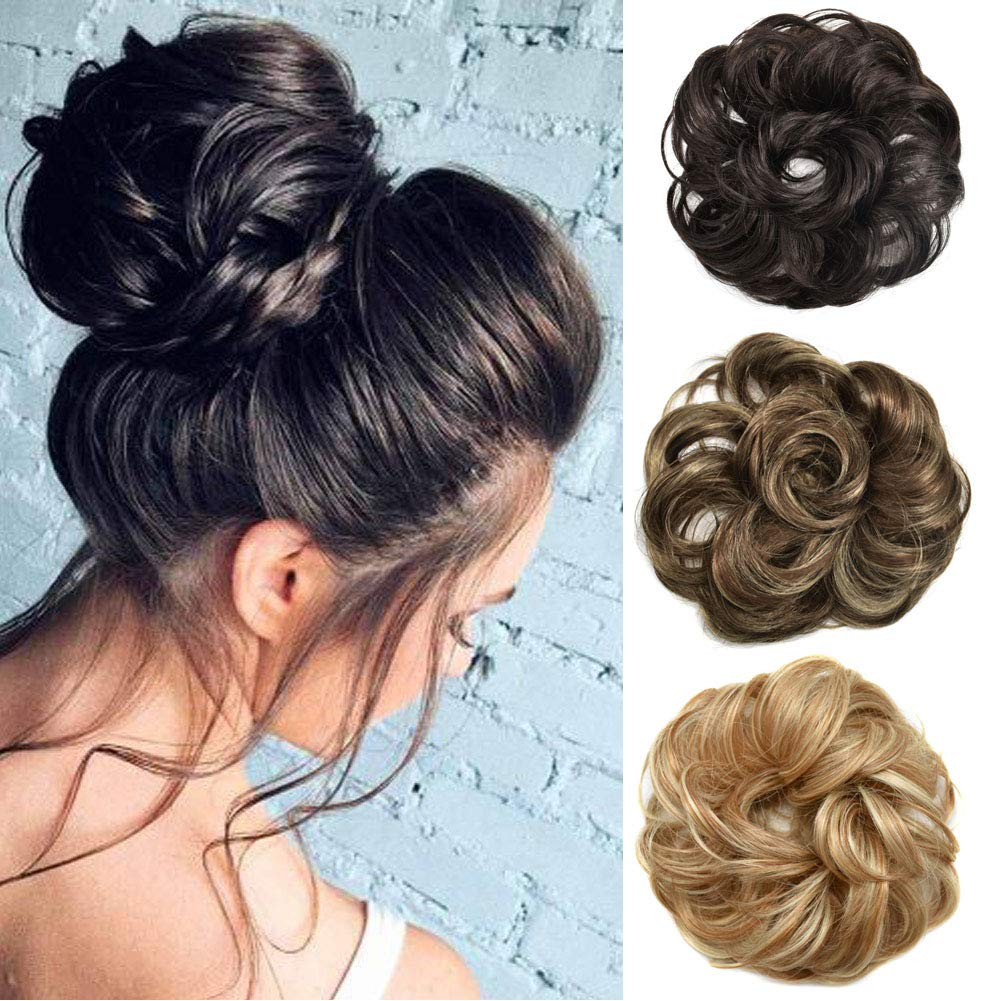 FACE MIRACLE Synthetic Hair Bun Extensions Wavy Curly Messy Rose Piece Updo Scrunchie Hair Extension Ponytail (2#)