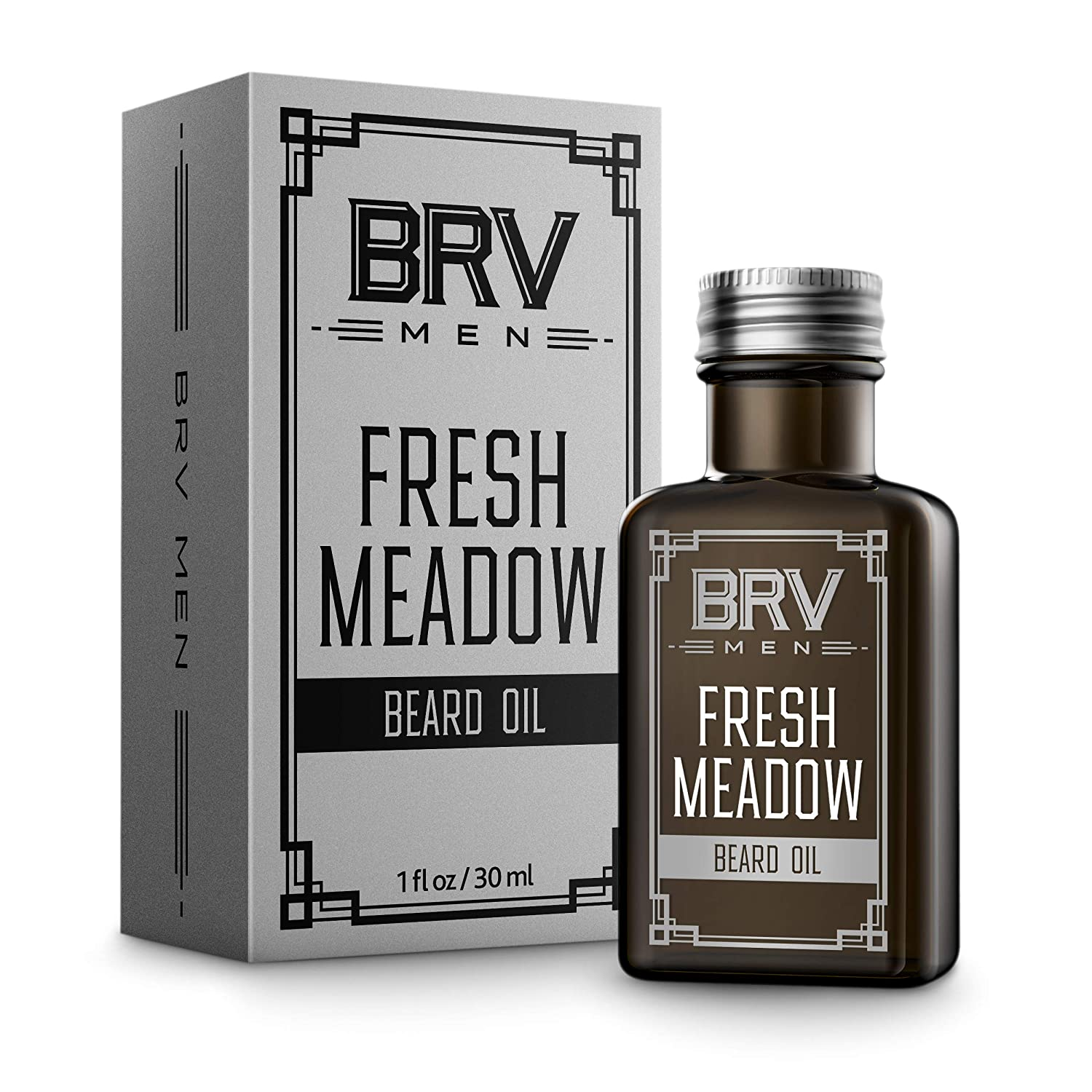 BRV MEN Beard Oil - 1 Oz - All Natural and Organic - Fresh Scented, Potent Clary Sage Blend - Beard and Mustache Conditioner - Softens, Moisturizes and Strengthens for Healthy Beard Growth (Fresh Meadow)