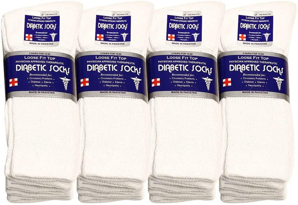 Falari Unisex Diabetic Socks Crew (12 Pairs ) 9-11, 10-13, 13-15, Black, Grey, White